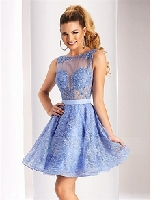 Bateau Neck V Cut Open Back Appliqued Lace Short Prom Dress with Satin Sash