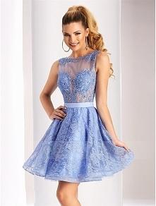 Bateau Neck V Cut Open Back Appliqued Lace Short Prom Dress with Satin Sash