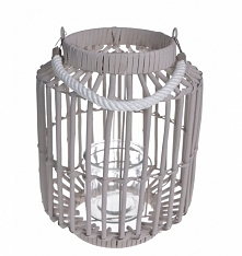 Lampion wiklinowy duży - 32 cm. Wyjątkowy i przepiękny. W środku lampionu szklany słoik - całość oplatana wikliną. Lampion posiada rączkę. Idealny na chłodne wieczory do wnętrza...