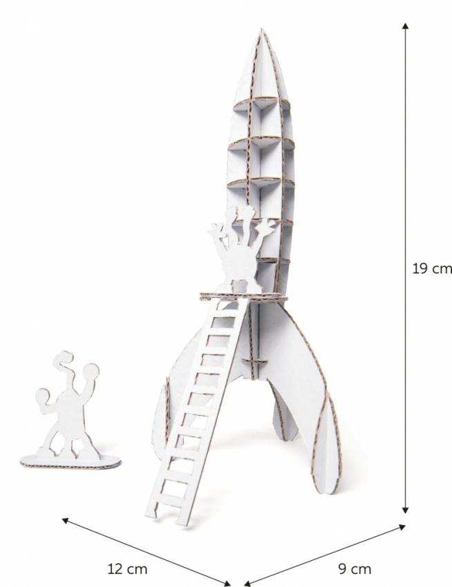 Mini rakieta do samodzielnego składania z białej tektury. Do rakiety dołączona jest drabinka oraz cztery ufoludki. Po złożeniu zabawkę można pomalować farbami lub pokolorować flamastrami. Zabawa w podbijanie kosmosu jeszcze nigdy nie była taka fajna!