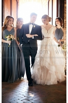 Essense Of Australia Tulle Wedding Dress With Illusion Lace Sleeves Style D2186