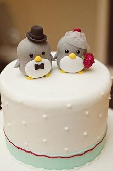Pingwinki na torcie weselnym :D