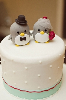 Pingwinki na torcie weselny...