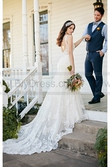 Martina Liana Low Back Wedding Dress With Beaded Lace Style 817