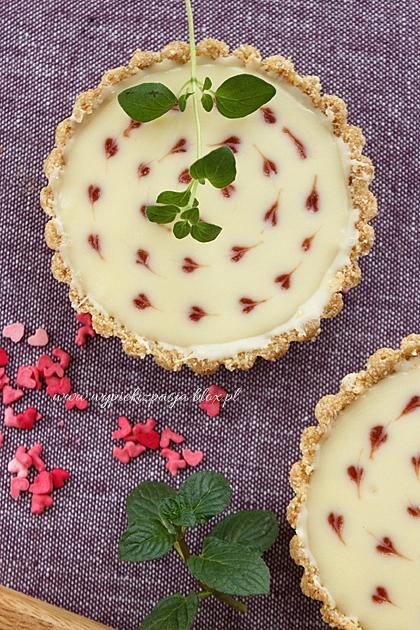 Walentynkowe tarteletki z malinami i białą czekoladą (bez pieczenia)