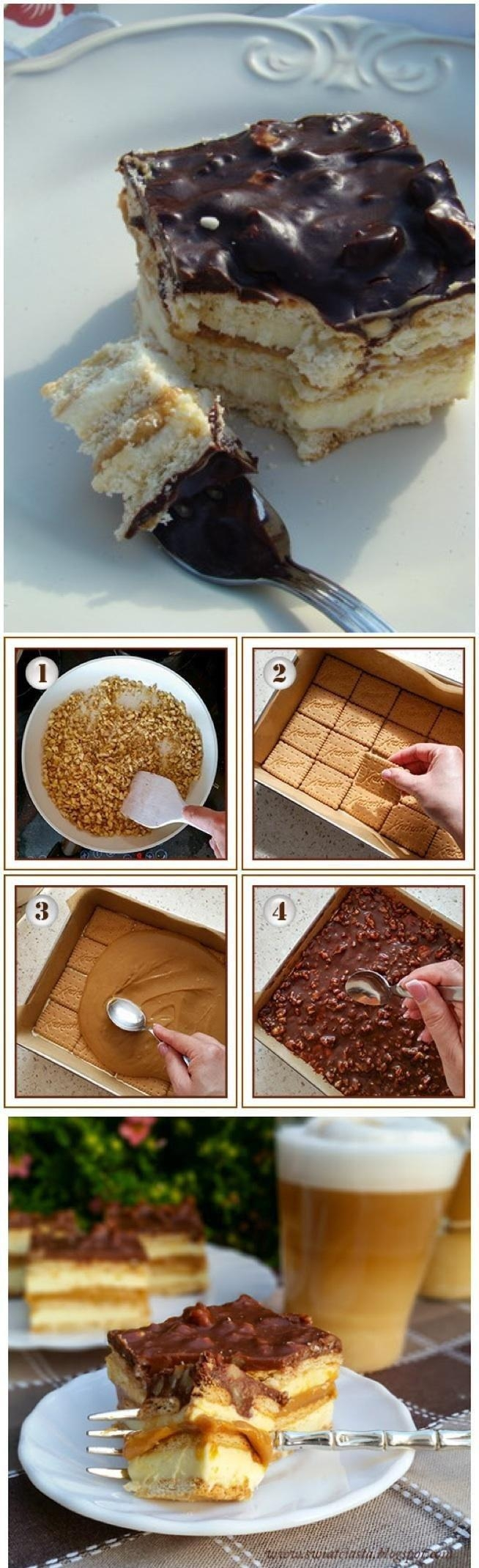 maxi king: SKŁADNIKI: ok. 400 g herbatników, 1 puszka gotowego masy krówkowej (lub mleka skondensowanego słodzonego gotowanego przez 2,5 - 3 godziny) SKŁADNIKI MASY MLECZNEJ: 1,5 kostki miękkiego masła, 1 szklanka mleka, 3/4 szklanki cukru, 2 łyżeczki cukru waniliowego, 400 - 500 g mleka w proszku (miałkiego) SKŁADNIKI POLEWY; 2 czekolady gorzkie, 1/2 szklanki kremówki, 150 g orzechów laskowych (ew. ziemnych) WYKONANIE Orzeszki posiekać i podprażyć na suchej patelni (fot.1). Blachę wyłożyć papierem do pieczenia. Położyć pierwszą warstwę herbatników (fot.2). Szklankę mleka, cukier i cukier waniliowy zagotować i odstawić do ostygnięcia. Masło utrzeć na gładką i puszystą masę, a następnie dodać mleko i mleko w proszku (wedle uznania od 3 do 4 szklanek). Utrzeć. Masę na chwilę odstawić do lodówki, żeby trochę zgęstniała. Następnie połowę masy mlecznej wyłożyć na herbatniki i przykryć następną warstwą herbatników. Przygotować masę krówkową. Dobrze jest ją wcześniej podgrzać wkładając puszkę do garnka z wodą i chwilę pogotować. Będzie się lepiej rozprowadzać (fot.3). Wyłożyć ją na herbatniki. Bezpośrednio na masę krówkową rozprowadzić resztę masy mlecznej, a na nią warstwę herbatników. Czekoladę roztopić w rondelku razem z mlekiem. Kiedy się rozpuści, dodać orzeszki i polać nią wierzch ciasta (fot.4). Całość schłodzić w lodówce przez minimum 3 godziny.