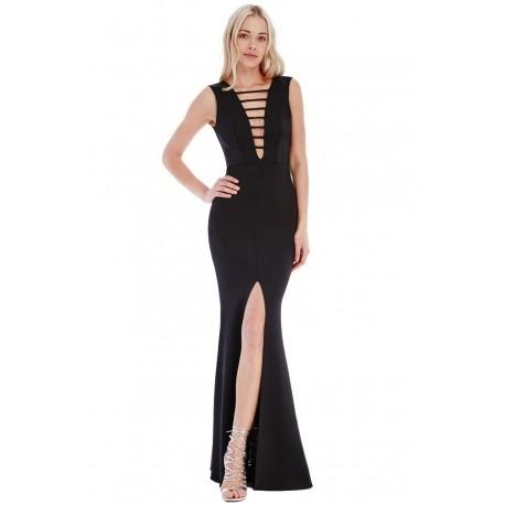 Długa czarna sukienka wieczorowa z głębokim dekoltem i rozcięciem