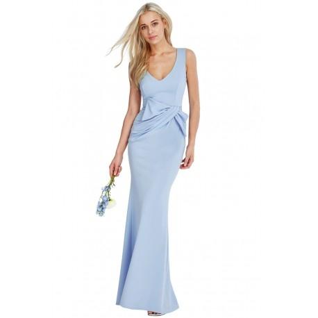 Wyszczuplająca długa sukienka na wesele błękitna z ciekawym marszczeniem w talii