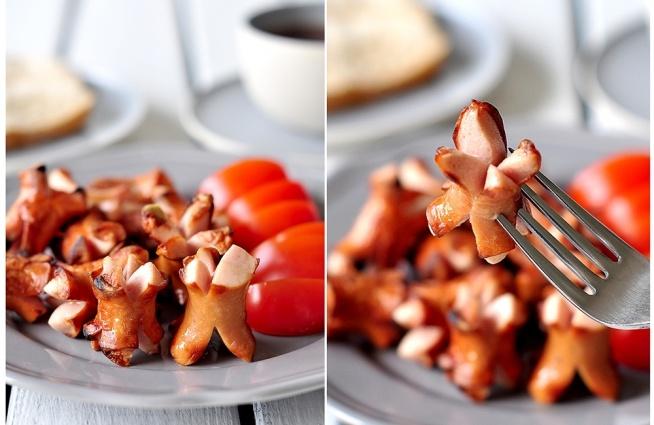 Parówki smażone, doskonały przepis na śniadanie.