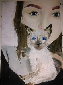 moje wykonanie, ja z nieżyjącym kociakiem :')