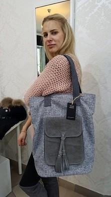 shopper torebka płótno len + skóra naturalna Fb/ Atelier Torebek wysyłka 24h