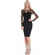 Elegancka czarna koronkowa sukienka midi z siateczką długi rękaw