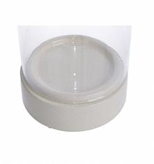 Duży świecznik szklany typu tuba o wysokości 34,5 cm. Świecznik składa się z ...