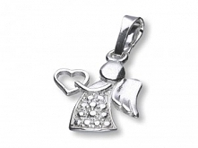 Aniołek srebrny do powieszenia na łańcuszku  Wysokość ok 1,8cm, waga 1,2g, próba srebra 925, produkt polski.  Pasuje idealnie na każdy łańcuszek! Więcej na e-dewocjonalia.eu