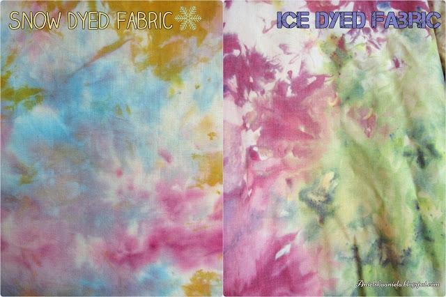 farbowanie materiałów kostkami lodu