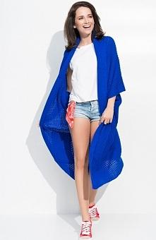 Numinou S14 sweter chabrowy Kobieca narzutka damska, dłuższy fason, wykonana ...