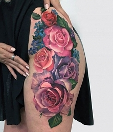 colorful roses women hip tattoo