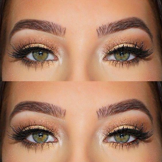 Złoty Delikatny Makijaż Dla Zielonych Oczu Na Makijaż Zszywkapl