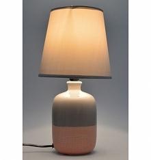Lampa stołowa nocna ceramiczna beżowo - morelowa . Klosz lampy tkanina + pcv ...