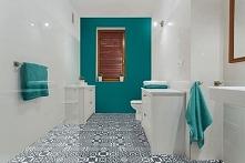 Przepiękna lazurowa nowoczesna łazienka