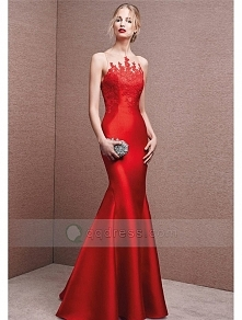Mermaid Scoop Neck Floor-length Satin Prom Dress with Embroidery