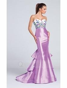 Mermaid Sweep Train Lace Appliqued Bodice Soft Ruffles Taffeta Skirt Prom Dress