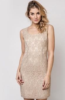 Vera Fashion Maja sukienka beżowa Efektowna sukienka, wykonana  z koronki zdobionej kwiatowym wzorem, idealnie dopasowana do sylwetki