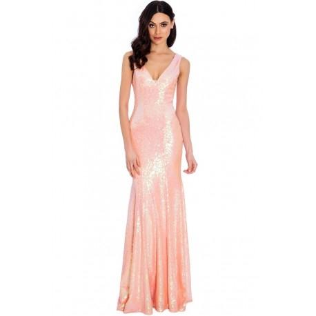 Różowa długa cekinowa sukienka na sylwestra o dopasowanym fasonie rybka