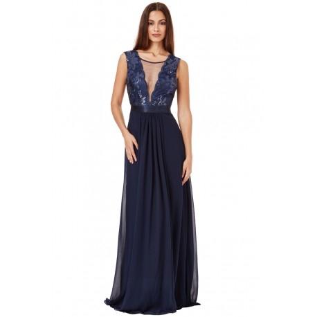 Granatowa szyfonowa długa sukienka wieczorowa z głębokim dekoltem z cekinami i siateczką
