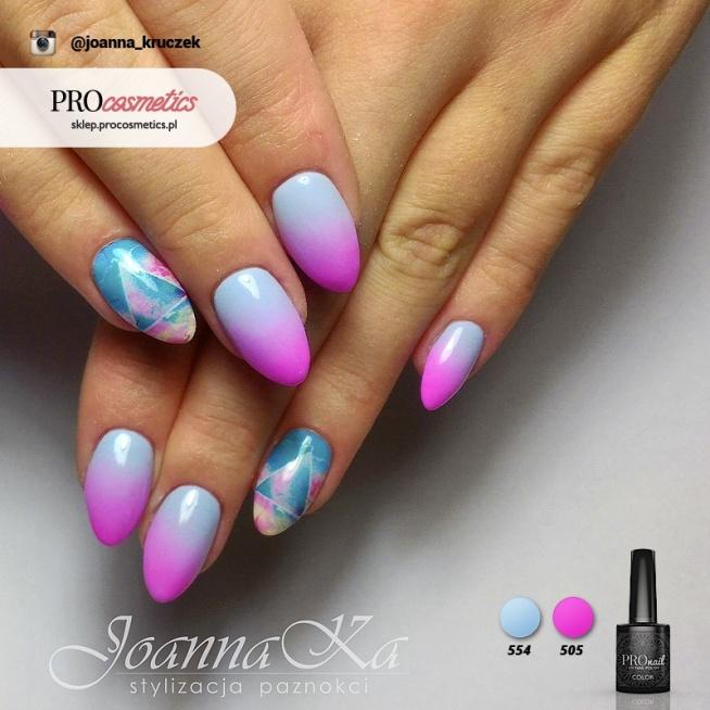 Paznokcie Różowo Niebieskie Ombre Pomalowane Z Użyciem Hybryd P Na