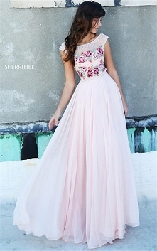 Cheap Blush Floral Embellished Sherri Hill 51249 V-back Long Dress Sweet 16