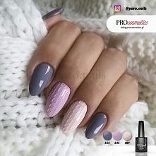 Sweterek na paznokciach wykonany z użyciem lakierów hybrydowych PROnail 401, ...