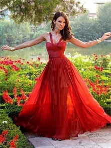 Classic chiffon off the shoulder v-neck A-line red Prom Dresses PVSD0091
