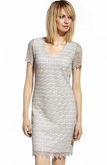 Ennywear 230116 sukienka Elegancka, koronkowa sukienka, prosty krój, dekolt w serek