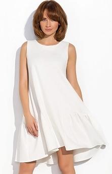 Numinou NU5 sukienka ecru Urokliwa sukienka, luźny fason tuszuje mankamenty sylwetki, dół wykończony falbaną