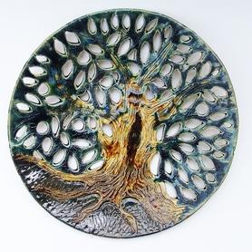Talerz ażurowy - pomnik Przyrody - przepiękny, błyszczący i spory talerz wykonany z gładkiej gliny.