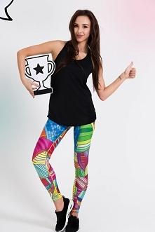 Kolorowe, przepiękne legginsy fitness damskie z kolorowym motywem