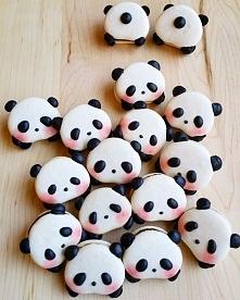 Designerskie makaroniki w kształcie pand! :3
