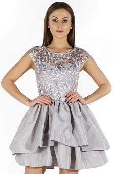 Bicot 2113-31 sukienka srebrna Śliczna wizytowa sukienka, rozkloszowany fason, wykonana z pięknej krynoliny