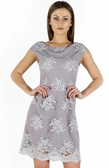 Bicot 2114-31 sukienka szara Elegancka sukienka wizytowa, wykonana z przepięknej gipury, na podszewce