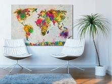 Mapa świata - nowoczesny obraz na płótnie