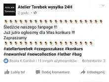KONKURS ⚘⚘⚘KONKURS⚘⚘⚘ Fb/ Atelier Torebek wysyłka 24h