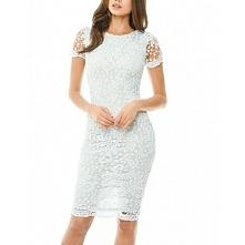 Jasnobłękitna koronkowa sukienka ołówkowa midi z krótkim rękawkiem