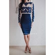 Koronkowa granatowa ołówkowa sukienka midi z siateczką w kolorze nude z długi...