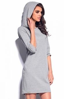 Lemoniade L180 sukienka szara Modna sukienka, wykonana jest z rozciągliwej, dresowej dzianiny, rękaw przed łokieć