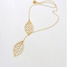 naszyjnik liście złoty srebrny