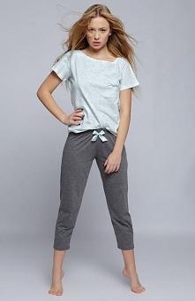 Sensis Karen piżama zielono-szara Rewelacyjna dwuczęściowa piżama, spodnie o długości 3/4, bluzka z krótkim rękawem