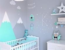 Pastelowy pokój mojego synka, w którym większość dekoracji oraz malowanie ści...