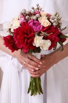 bukiet ślubny róż/czerwień