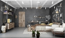 bedroom - industrial style